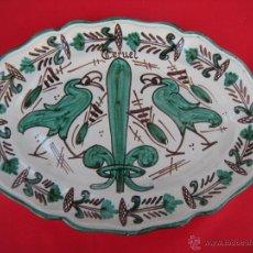 Antigüedades: BONITA FUENTE PLATO DE TERUEL FIRMADA PUNTER. Lote 50062276