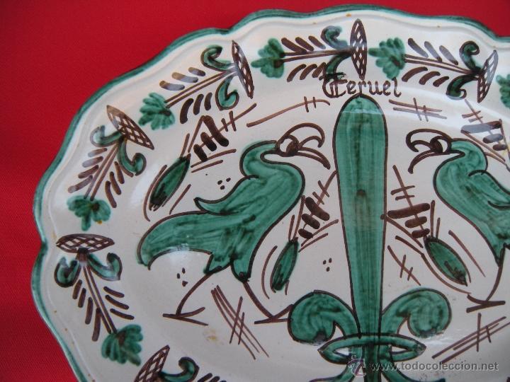 Antigüedades: BONITA FUENTE PLATO DE TERUEL FIRMADA PUNTER - Foto 3 - 50062276