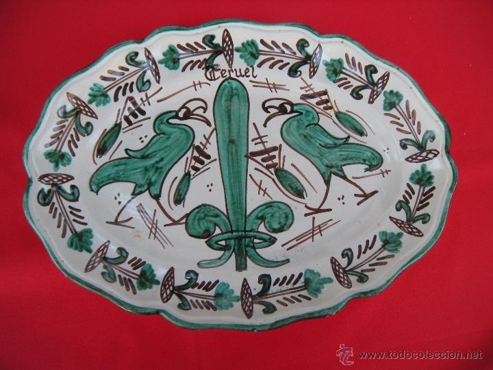 Antigüedades: BONITA FUENTE PLATO DE TERUEL FIRMADA PUNTER - Foto 4 - 50062276