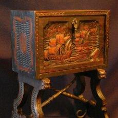 Antigüedades: BARGUEÑO DE MADERA Y HIERRO FORJADO.. Lote 50066671