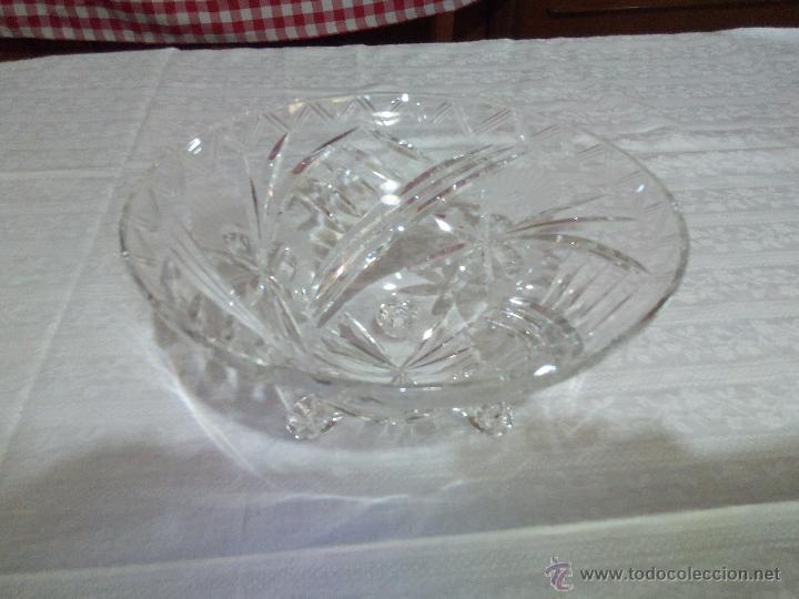 Antigüedades: Precioso centro de mesa de cristal de bohemia tallado. república checa - Foto 2 - 50067945