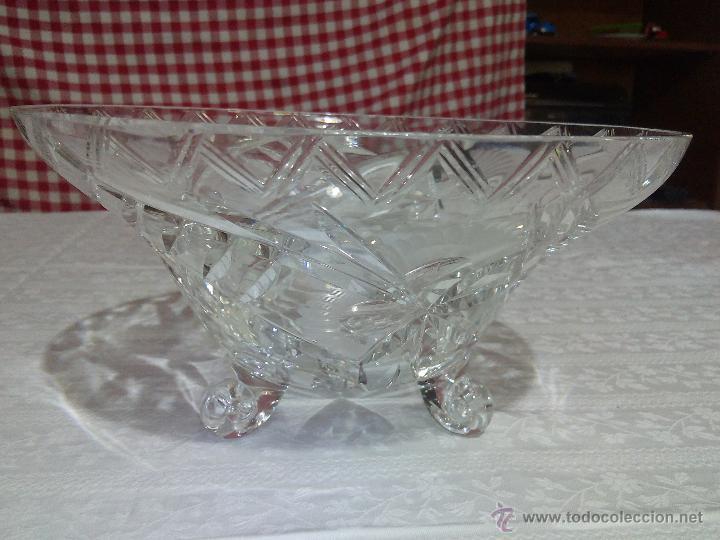 Antigüedades: Precioso centro de mesa de cristal de bohemia tallado. república checa - Foto 4 - 50067945