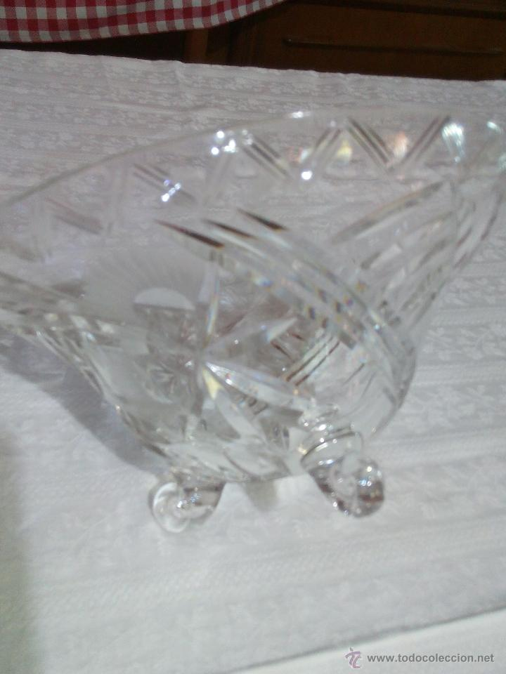 Antigüedades: Precioso centro de mesa de cristal de bohemia tallado. república checa - Foto 7 - 50067945