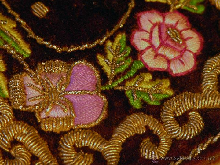 Antigüedades: Antiguo tarjetero para carnet de baile en terciopelo con bordado filipino, siglo XIX. - Foto 5 - 50083325