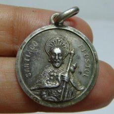 Antigüedades: MEDALLA RELIGIOSA ANTIGUA. PLATA. SANTIAGO APOSTOL.. Lote 50086434