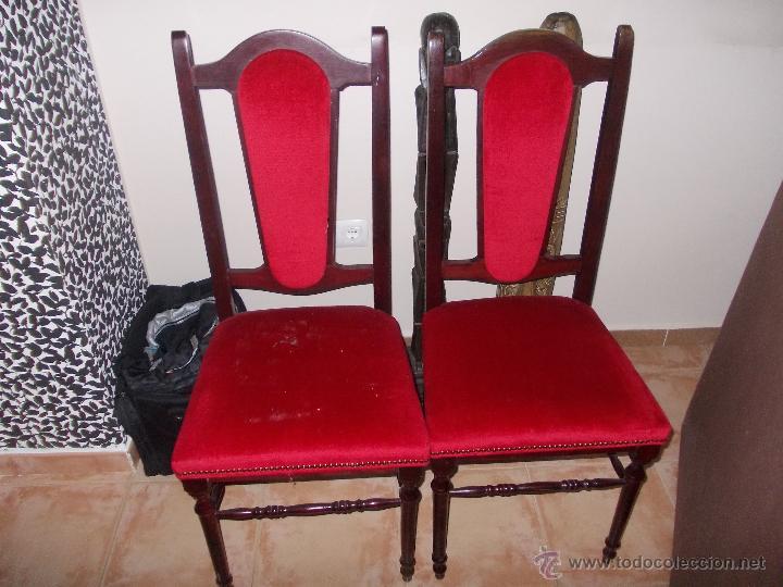 Sillas de madera tapizadas rojas 2 comprar sillas - Sillas antiguas de madera ...