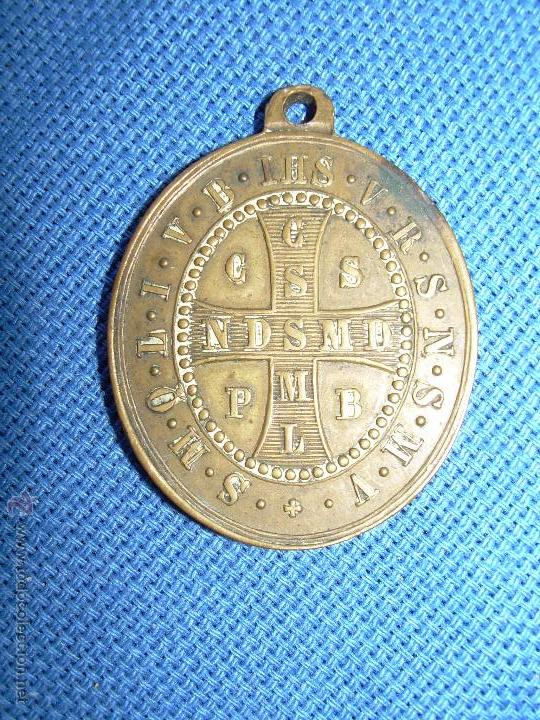 Antigüedades: MEDALLA CRUZ - S.P. BENEDICTI - CRUZ SAN PEDRO BENDITO - VER REVERSO - 3.5X3 CM - Foto 2 - 122839402
