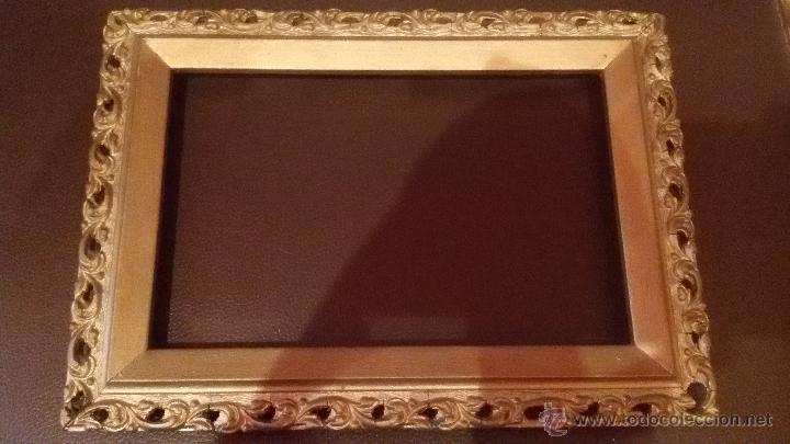 antiguo marco de madera y dorado ideal para peana de virgen cristo santo semana santa xcm