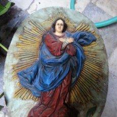 Antigüedades: GRAN PLAFON VIRGEN INMACULADA, COPIA EXACTA POR APRETON AGUAMANIL IGLESIA SANTA MARIA CADIZ, FIRMADA. Lote 50132365