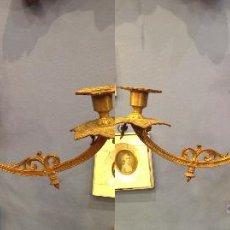 Antigüedades: PAREJA DE CANDELEROS GRANDES EN BRONCE MACIZO ORIGINALES ISABELINOS DE CUATRO BRAZOS. Lote 49503675