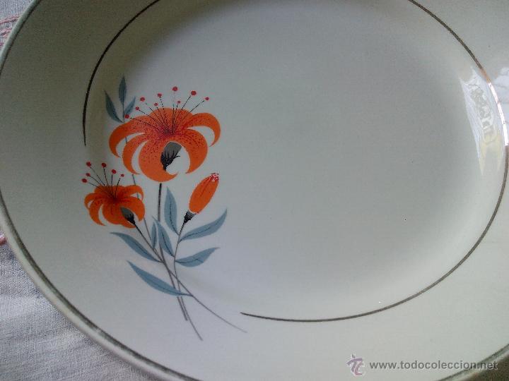 Antigüedades: precioso plato sopero cartuja pickman sevilla,decorado con un hermoso lirio naranja. - Foto 2 - 50163785