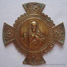 Antigüedades: PLACA DE LATÓN RELIGIOSA BENDECIRE LAS CASAS. Lote 50172606
