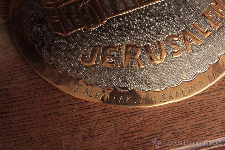 Antigüedades: EXCELENTE PLATO DE JERUSALEM, REALIZADO A MANO, REPUJADO Y FIRMADO POR EL ARTISTA. - Foto 4 - 50173051