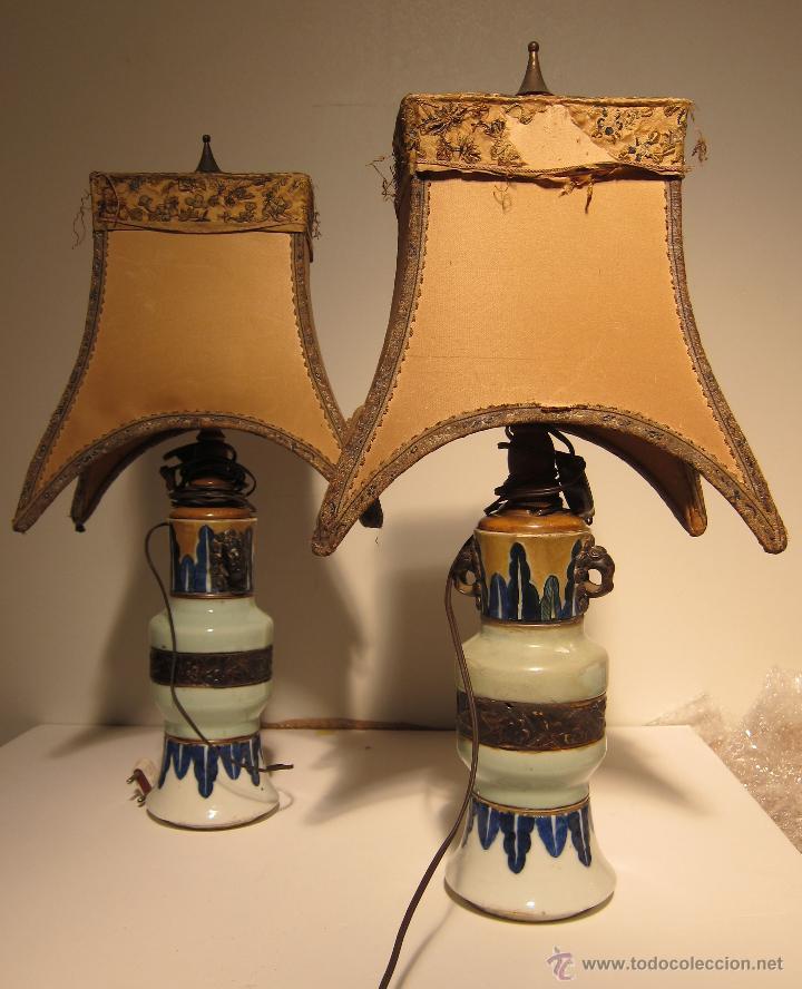 pareja orientales lamparas loza Original de de en Vendido 2WEHDI9