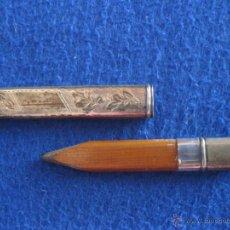 Antigüedades: PORTALÁPIZ DE PLATA MACIZA INGLESA DE 1913. Lote 50202577