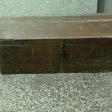 Antigüedades: BAUL DE CARRO MADERA TAPA CURVA PARA RESTAURAR. Lote 50217275