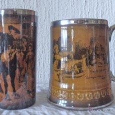 Antigüedades: JARRA Y VASO DE CERAMICA RIDGWAYS ENGLAND. Lote 50220493
