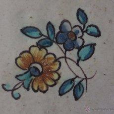 Antigüedades: AZULEJO FLOR DE VALENCIA-SIGLO XVIII,ORIGINAL. Lote 50221019