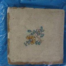 Antigüedades: AZULEJO FLOR DE VALENCIA-SIGLO XVIII,ORIGINAL. Lote 50221758