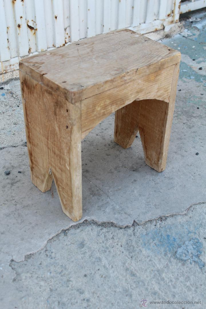 Banqueta antigua rustica de madera comprar sillas for Banquetas de madera