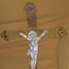 Antigüedades: RARÍSIMO CRISTO EN CHAPA. Lote 50239792