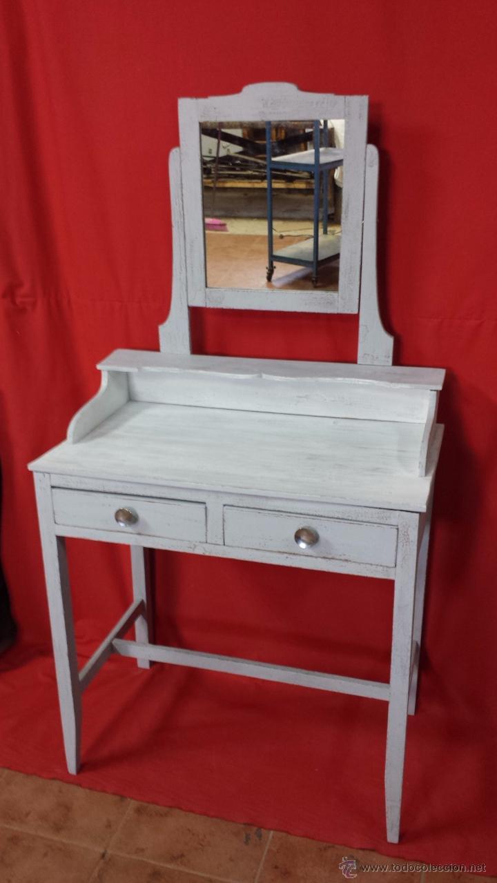 Peque O Tocador En Color Gris Con La Tapa Blanc Comprar Consolas  # Muebles Efecto Decapado