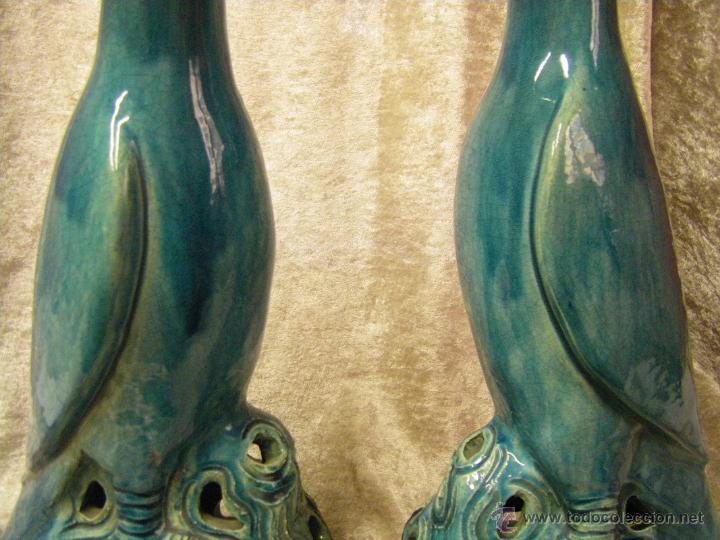 Antigüedades: Pareja de pájaros chinos en gres de finales del siglo XIX China - Foto 2 - 50248122