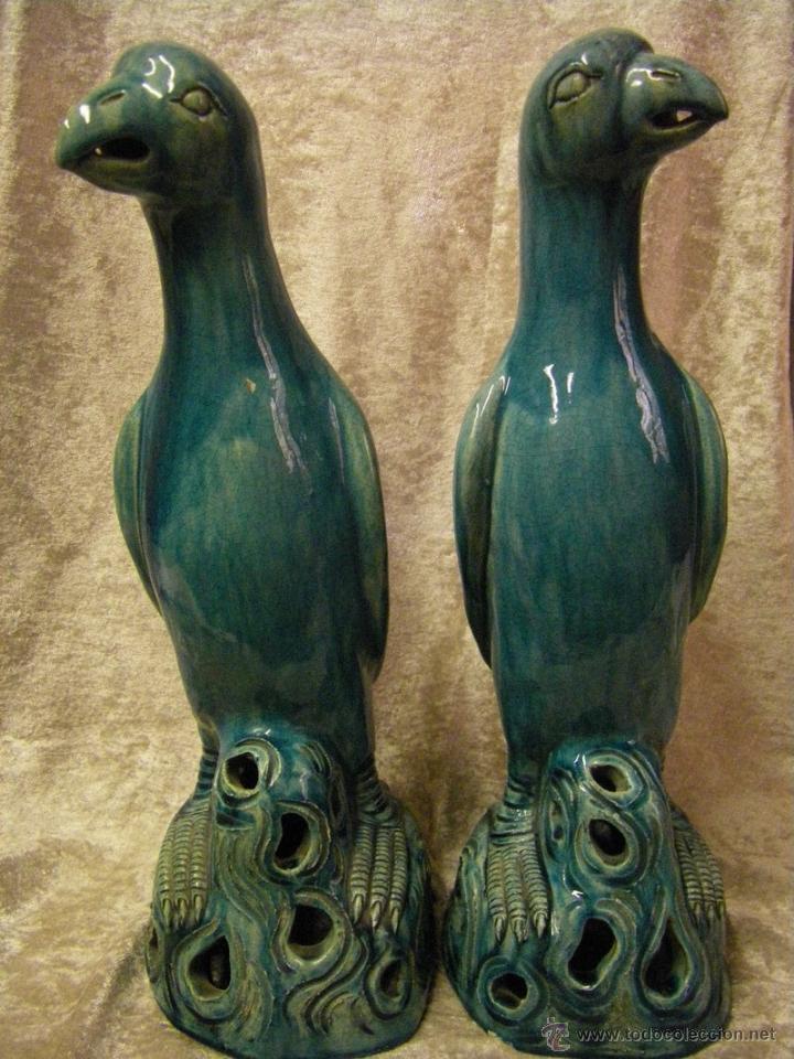 Antigüedades: Pareja de pájaros chinos en gres de finales del siglo XIX China - Foto 4 - 50248122