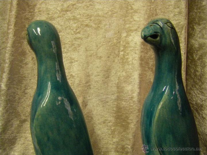 Antigüedades: Pareja de pájaros chinos en gres de finales del siglo XIX China - Foto 13 - 50248122