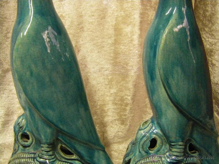 Antigüedades: Pareja de pájaros chinos en gres de finales del siglo XIX China - Foto 14 - 50248122