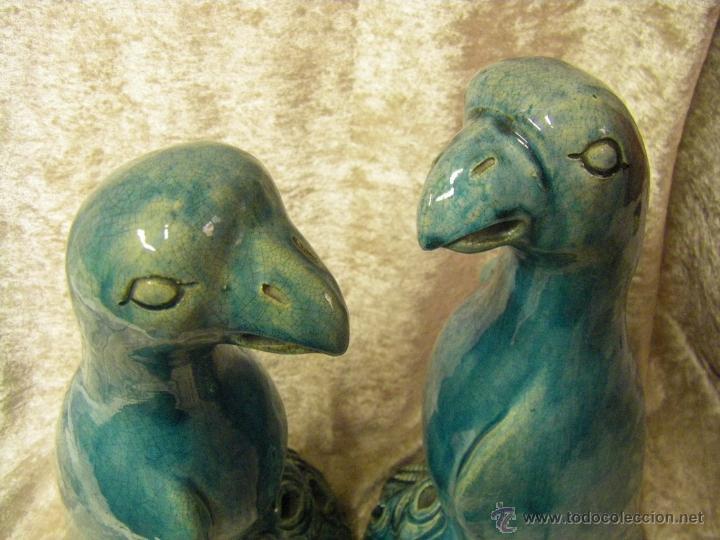 Antigüedades: Pareja de pájaros chinos en gres de finales del siglo XIX China - Foto 27 - 50248122