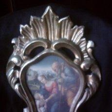 Antigüedades: ~~~~ANTIGUA CORNUCOPIA DE MADERA TALLADA Y ESTUCO, PAN DE ORO POLICROMADO, SAGRADA FAMILIA ~~~~. Lote 50278557