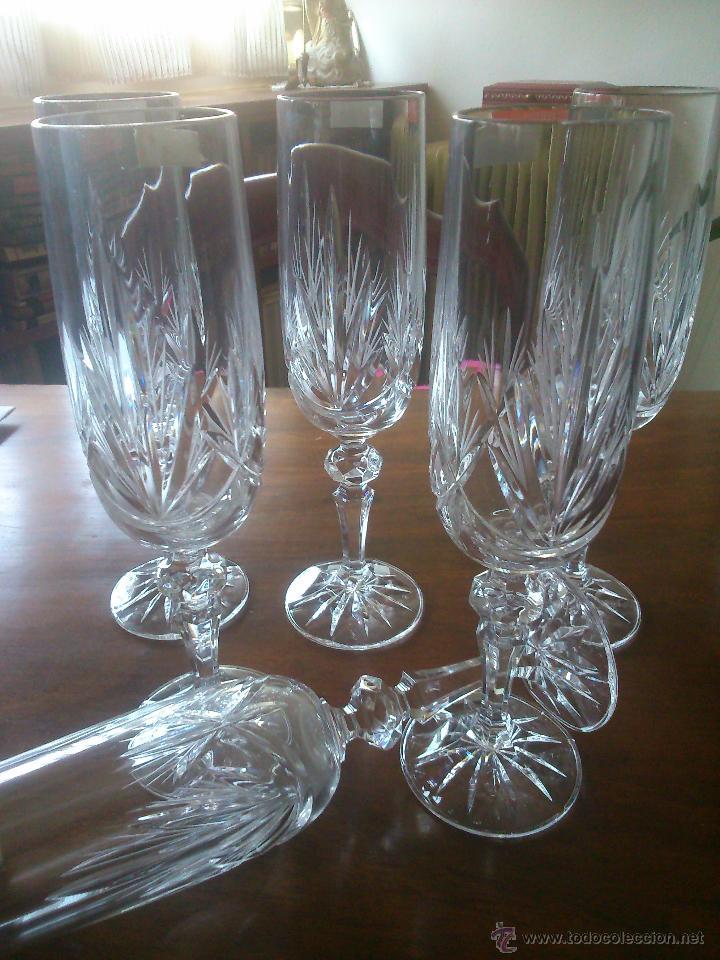 Seis copas de cava cristal tallado sonoro b comprar for Cava cristal