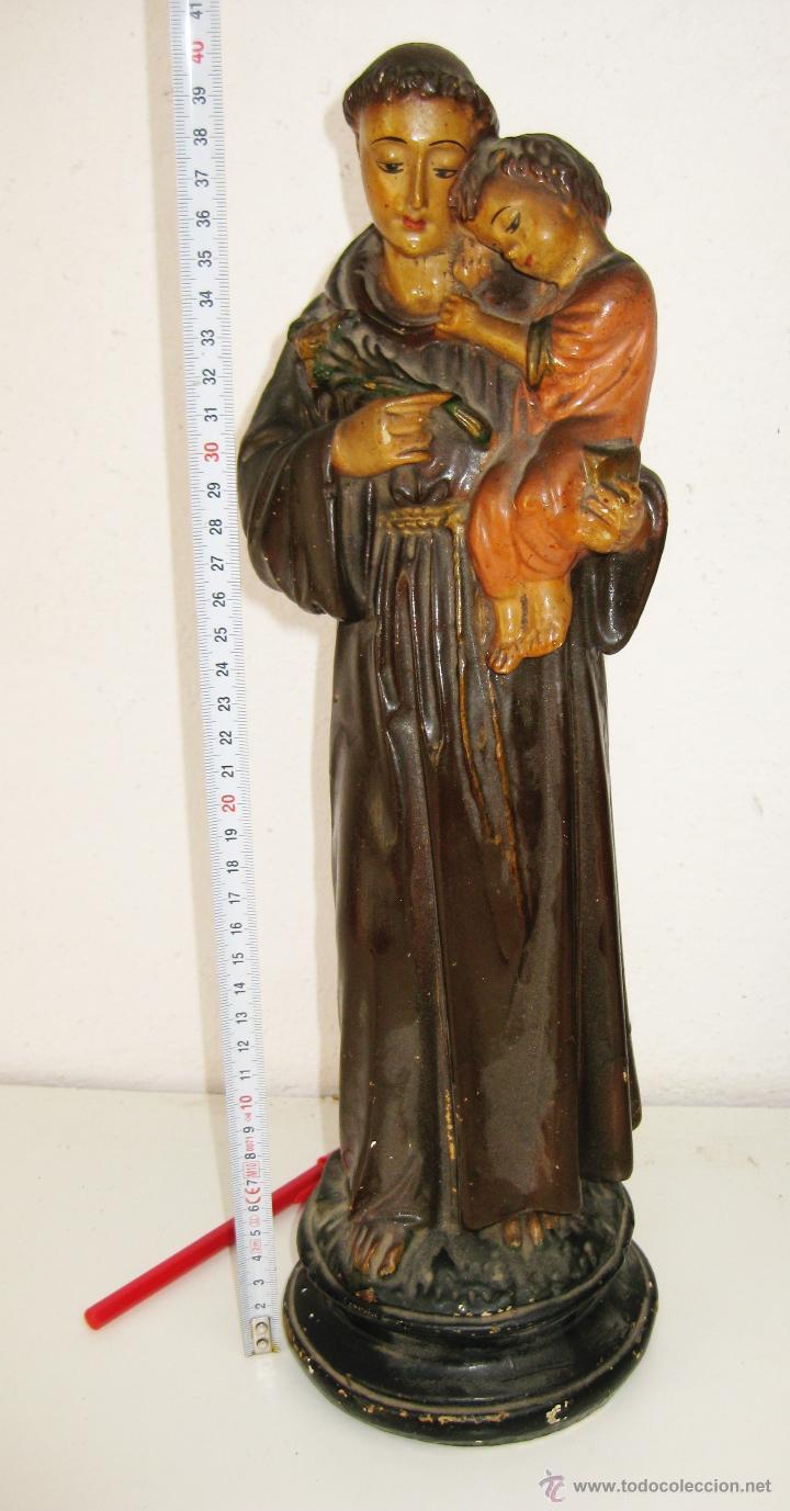 Antigüedades: GRAN FIGURA san antonio de padua EN ESTUCO DECORADA A MANO SANTO CON NIÑO MUY ANTIGUA XIX - Foto 3 - 50306602