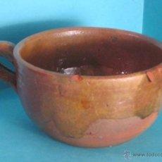 Antigüedades: TAZÓN DE TERRACOTA BARNIZADO PARCIALMENTE. ALTURA 7 CM. DIÁMETRO 12 CM. Lote 50311702