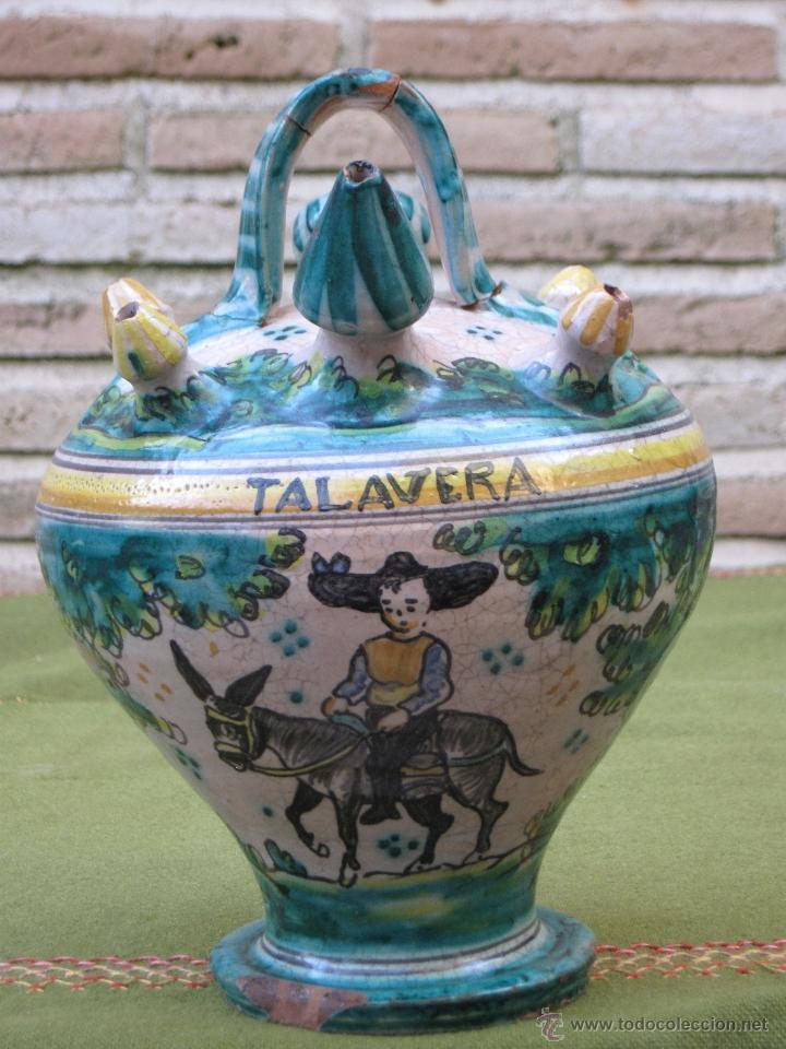 BOTIJO ANTIGUO DE ENGAÑO, DE EL PUENTE DEL ARZOBISPO / TALAVERA. (Antigüedades - Porcelanas y Cerámicas - Puente del Arzobispo )