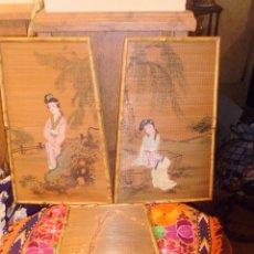 Antigüedades: CUADROS CHINO PINTADO A MANO DE BAMBÚ ANTIGUOS.. Lote 50327740