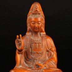Antigüedades: ANTIGUA FIGURA BUDDHA BUDA EN MADERA DE SANDALO, IMPRESIONANTE TALLADA A MANO. Lote 50331667