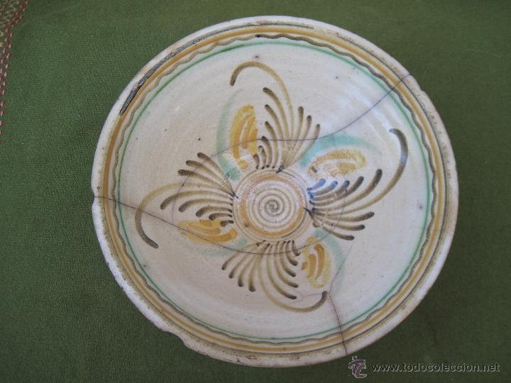 CUENCO GRANDE ANTIGUO. PUENTE ARZOBISPO ( TOLEDO ) SIGLO XIX - LAÑADO. (Antigüedades - Porcelanas y Cerámicas - Otras)