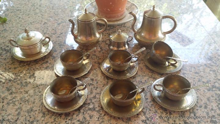 Antiguo juego de cafe con ba o de plata o alpac comprar for Bano de plata precio