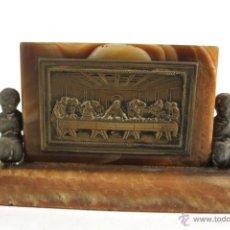 Antigüedades: IMAGEN DE LA SANTA CENA EN BRONCE SOBRE BASE DE MARMOL. Lote 50352878