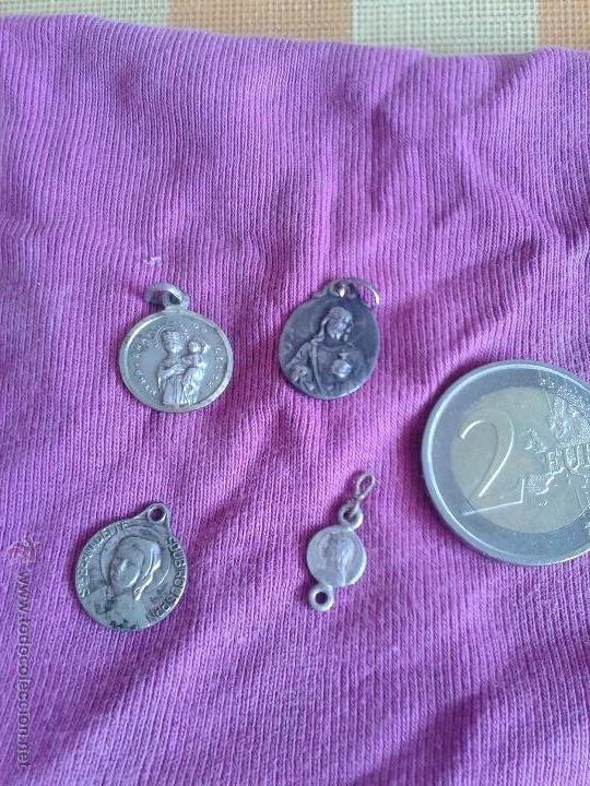 LOTE 4 MEDALLAS ANTIGUAS RELIGIOSAS (Antigüedades - Religiosas - Medallas Antiguas)