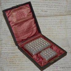 Antigüedades: PRECIOSO ESTUCHE DE PITILLERA Y CERILLERA EN PLATA DE LEY,S. XIX-XX. Lote 50356519