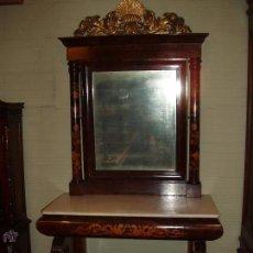 Antigüedades: IMPRESIONANTE RECIBIDOR-CONSOLA CON MARQUETERIA. MAXIMA CALIDAD. Lote 50360665