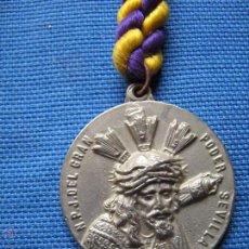 Antigüedades: SEMANA SANTA SEVILLA - MEDALLA CON CORDON DEL GRAN PODER Y LA ESPERANZA MACARENA. Lote 54167325