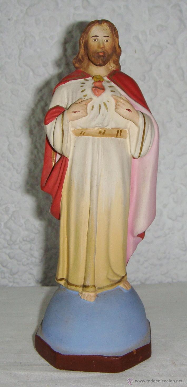 SAGRADO CORAZON DE JESÚS. ESCAYOLA. (17 CM) (Antigüedades - Religiosas - Varios)