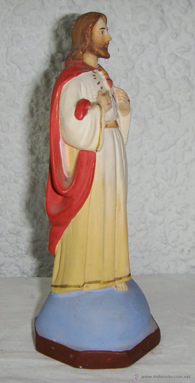 Antigüedades: Sagrado Corazon de Jesús. Escayola. (17 cm) - Foto 2 - 50412392
