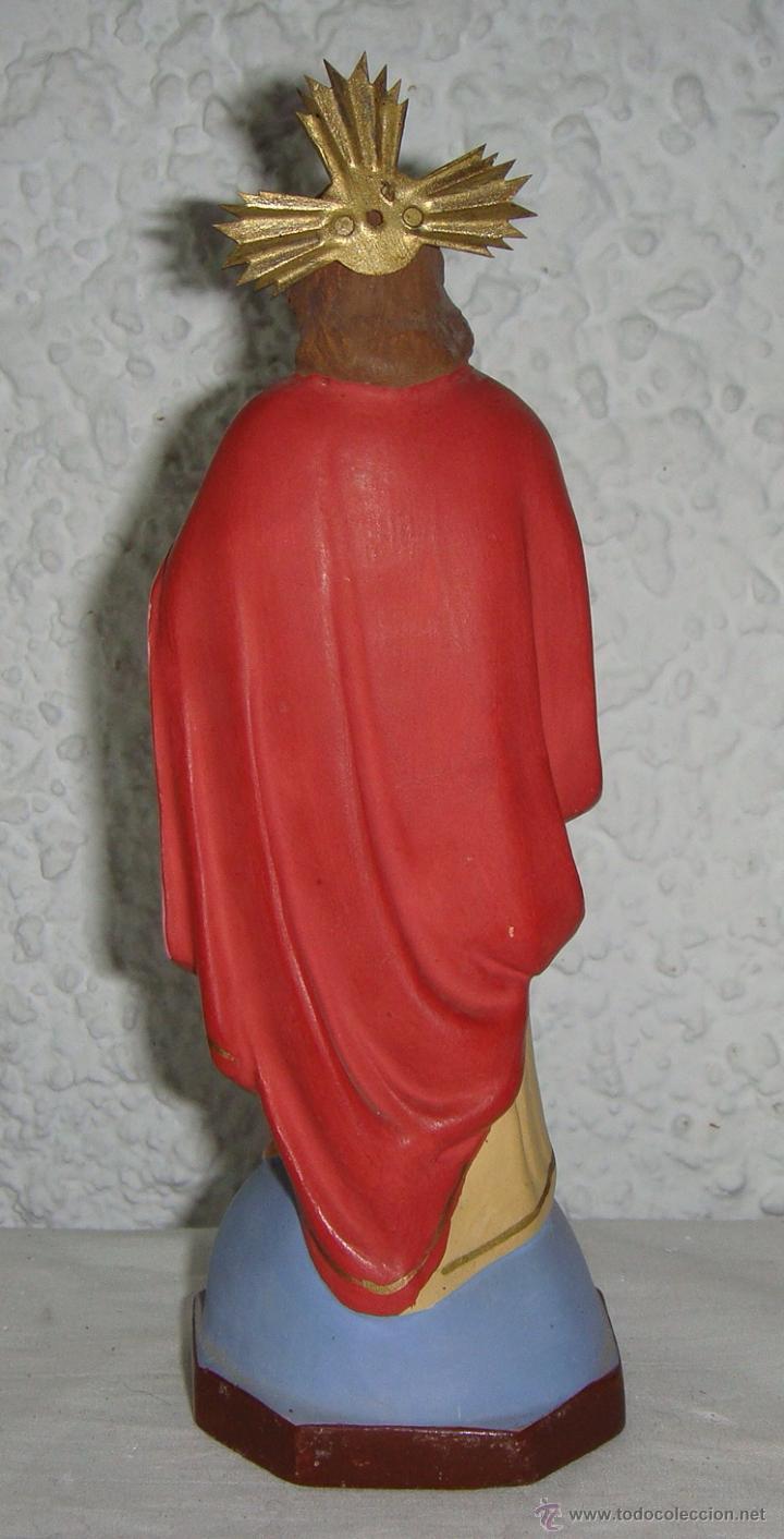 Antigüedades: Sagrado Corazon de Jesús. Escayola. (17 cm) - Foto 3 - 50412392