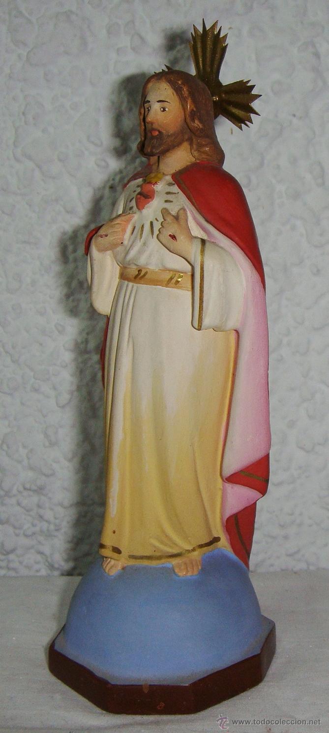 Antigüedades: Sagrado Corazon de Jesús. Escayola. (17 cm) - Foto 4 - 50412392
