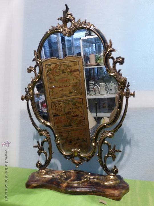 ANTIGUO Y ELEGANTE ESPEJO CORNUCOPIA DE BRONCE ESTILO IMPERIO.BASE DE MÁRMOL.GIRATORIO.AÑOS 50 (Antigüedades - Muebles Antiguos - Cornucopias Antiguas)